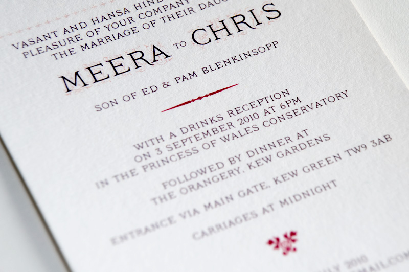 Close up of typography - wedding invite