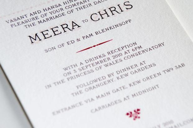Close up of typography - wedding invite