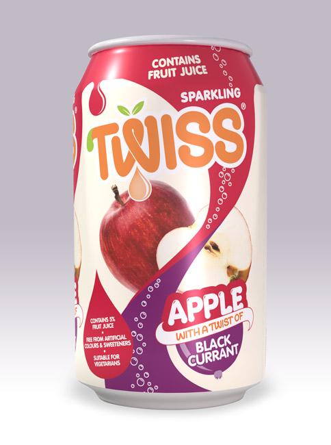 Twiss Drinks apple & blackcurrant can design