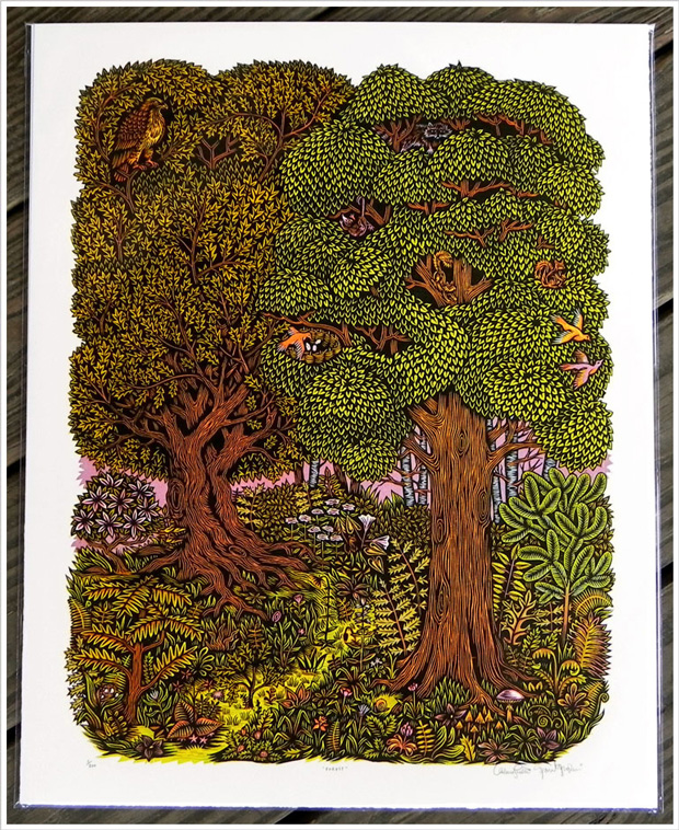 Tugboat Printshop Forest woodcut